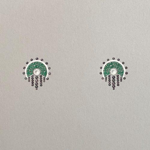 Lampião Earrings Gouache Illustration