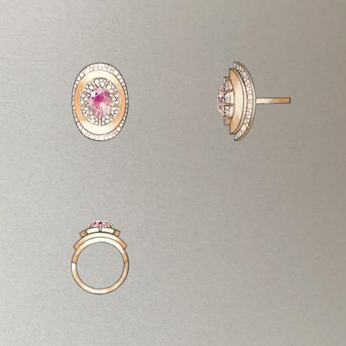 Lotus Ring Gouache Illustration
